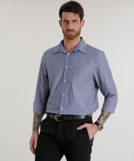 Camisa Comfort Listrada Azul Marinho