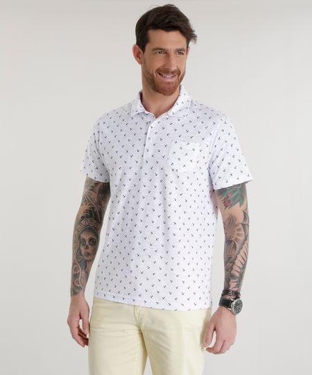 Polo Flamê Estampada de Ancoras Branca