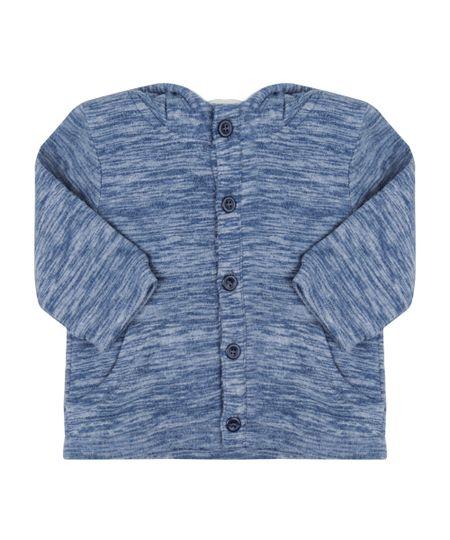 Blusão em Moletom com Plush Azul