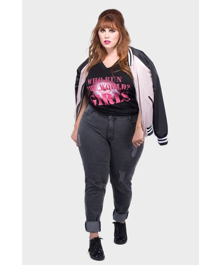 Calça Jeans Cós Alto Estonado Plus Size