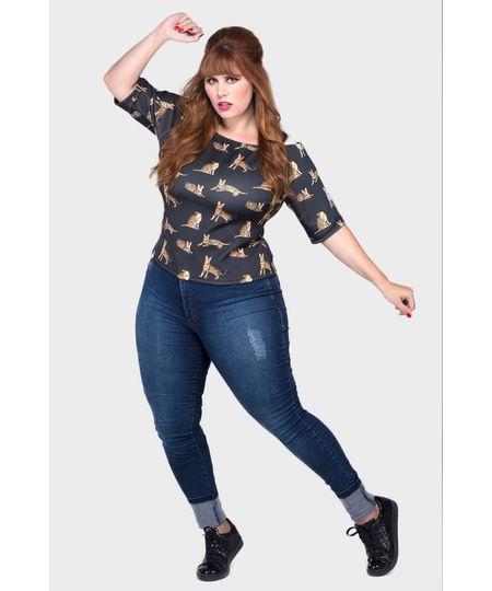 Calça Jeans Skinny Cós Alto Lavagem Plus Size