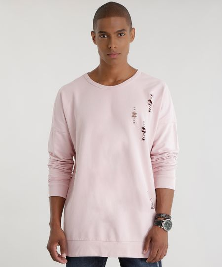Blusão Longo em Moletom com Puídos Rosa Claro