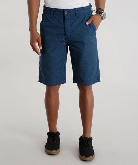 Bermuda Slim Estampada de Poá Azul Marinho