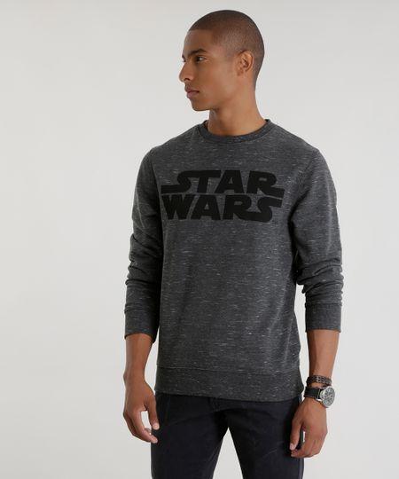 Blusão Star Wars em Moletom Cinza Mescla Escuro