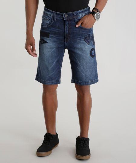 Bermuda Jeans Slim com Patch Azul Escuro