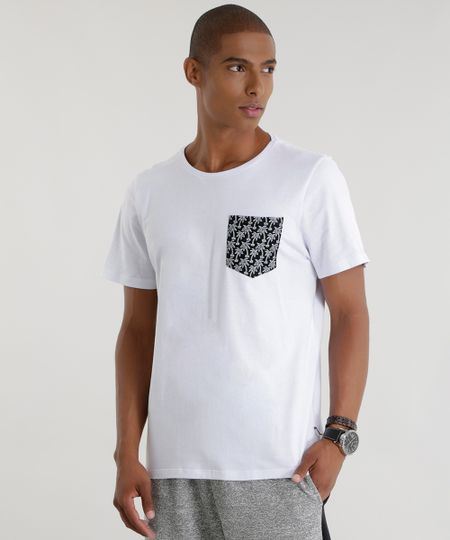 Camiseta com Bolso Estampado Branca