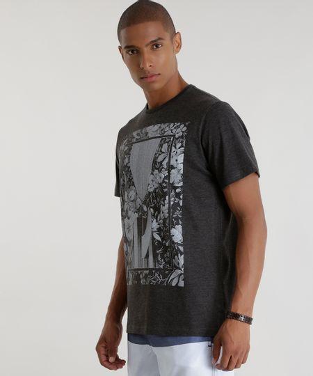 Camiseta com Estampa Floral Cinza Mescla