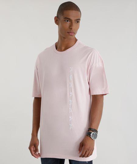 Camiseta Longa com Bordado Rosa Claro