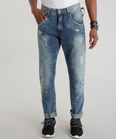 Calça Jeans Cenoura Azul Médio