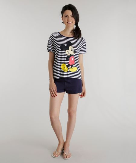 Pijama Listrado Mickey Branco