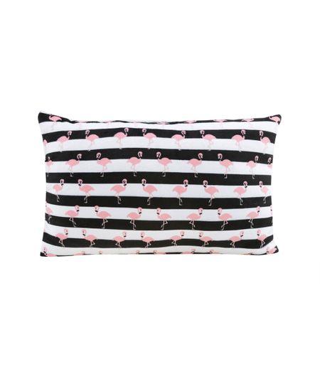 Almofada Estampada de Flamingos Off White