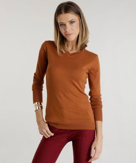 Suéter em Tricô  Caramelo