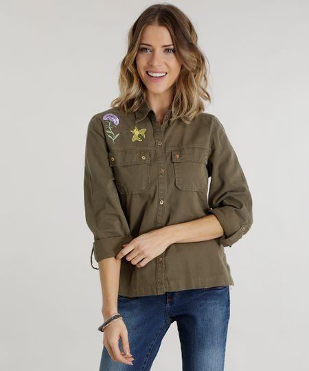 Camisa com Patch Verde Militar