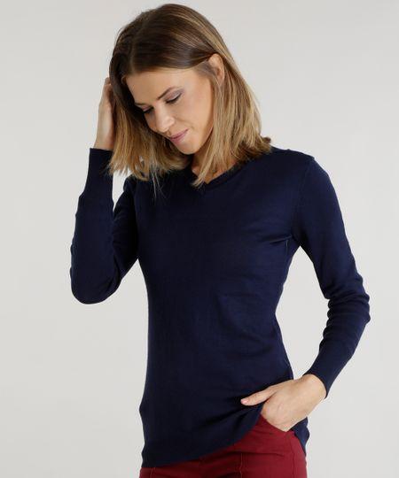 Suéter em Tricô  Azul Marinho