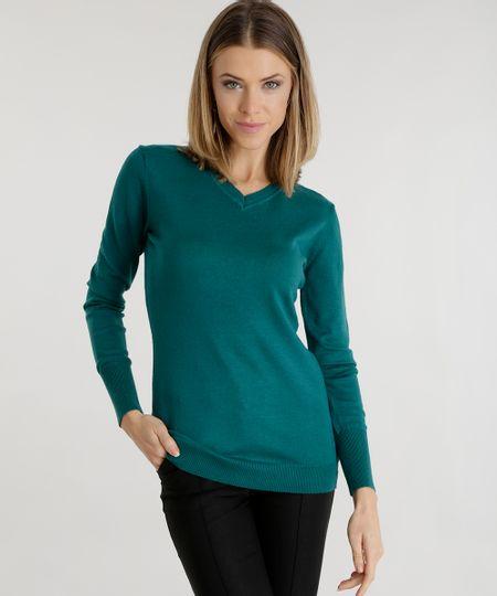 Suéter em Tricô  Verde