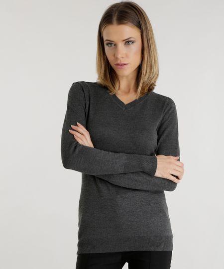 Suéter em Tricô  Cinza Mescla Escuro