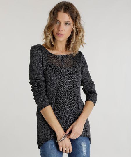 Suéter em Tricô  Cinza Chumbo