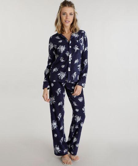 Pijama Estampado Floral em Plush Azul Marinho