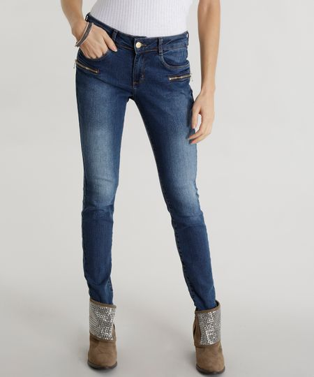 Calça Jeans Super Skinny Azul Escuro