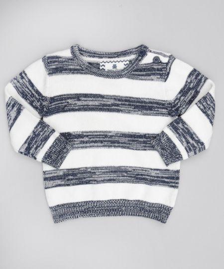 Suéter Listrado em Tricô de Algodão + Sustentável. Off White