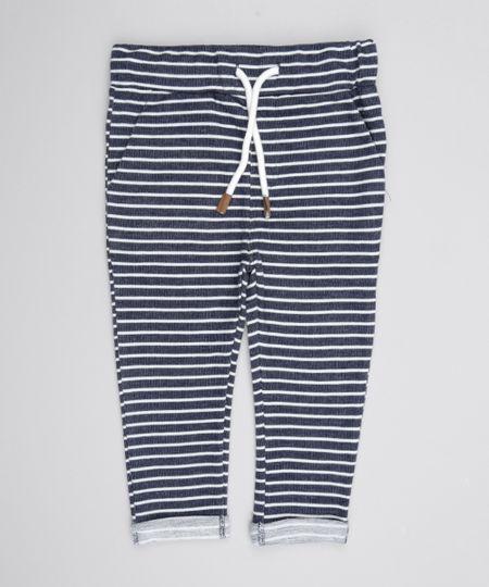 Calça Listrada em Moletom de Algodão + Sustentável Azul Marinho