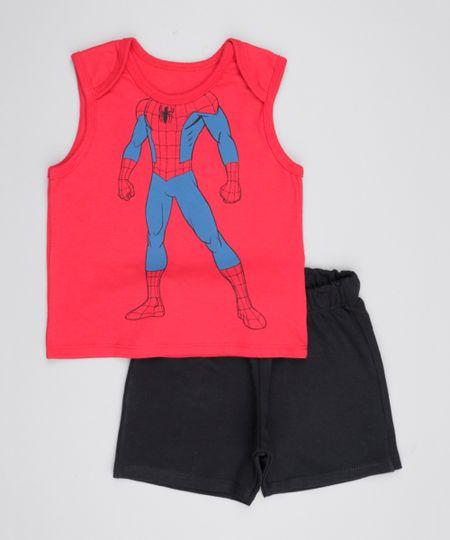 Conjunto de Regata Homem Aranha Vermelha + Short  Preto
