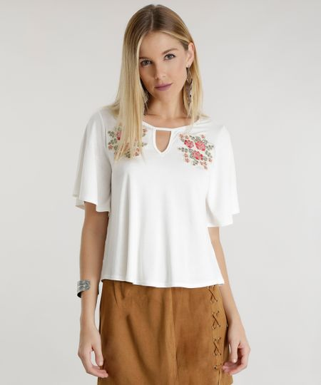 Blusa com Bordado Floral Off White