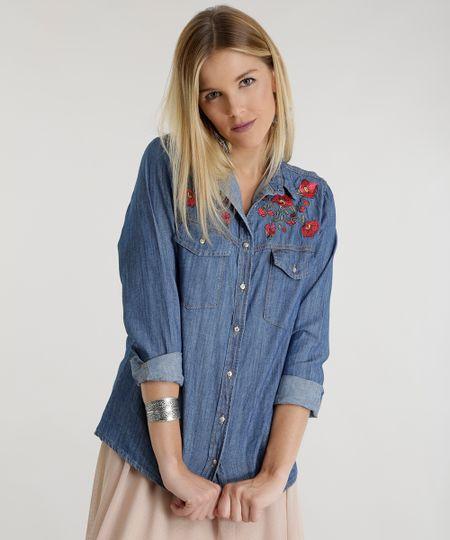 Camisa Jeans com Bordado Azul Médio