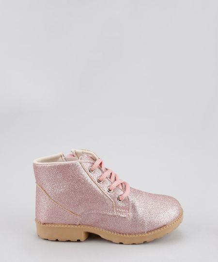 Bota Coturno com Glitter Rosa Claro