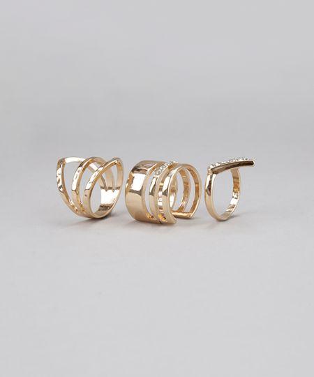Kit de 3 Anéis Dourado