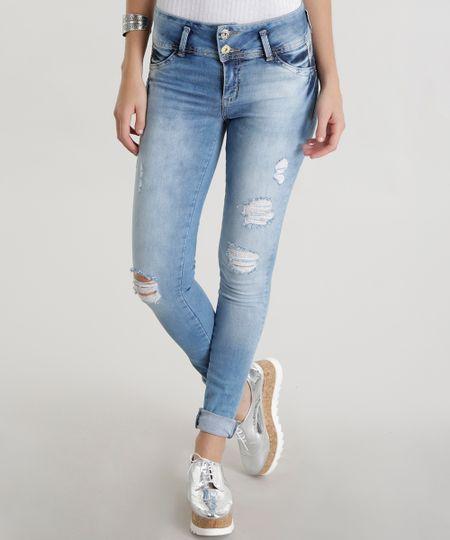 Calça Jeans Skinny Modela Bumbum Sawary Azul Claro