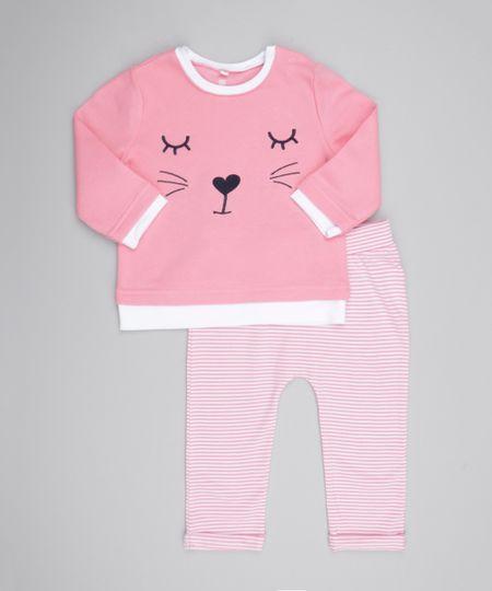 Conjunto de Blusão Bordado Rosa + Calça Listrada  Rosa