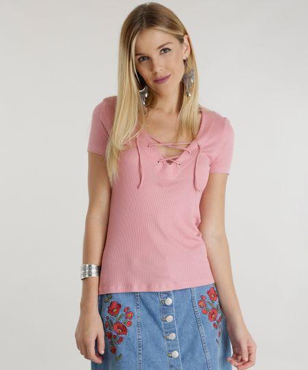 Blusa com Amarração Rosa Claro