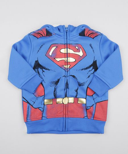 Blusão em Moletom Super Homem Azul