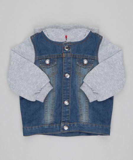Jaqueta Jeans com Moletom Azul Médio