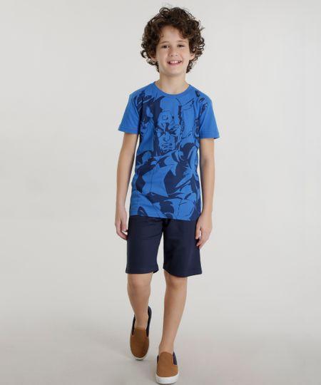 Conjunto de Camiseta Capitão América Azul + Short Azul Marinho