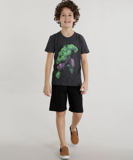 Conjunto de Camiseta Hulk Cinza Mescla + Short Preto