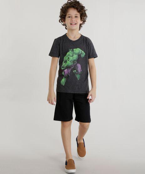 Conjunto-de-Camiseta-Hulk-Cinza-Mescla---Short-Preto-8601306-Preto_1
