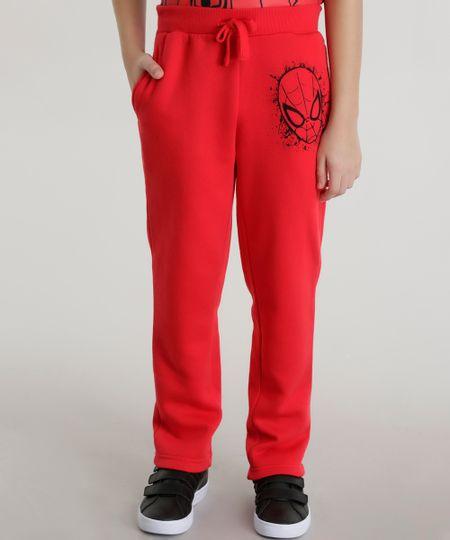 Calça em Moletom Homem Aranha de Algodão + Sustentável Vermelha