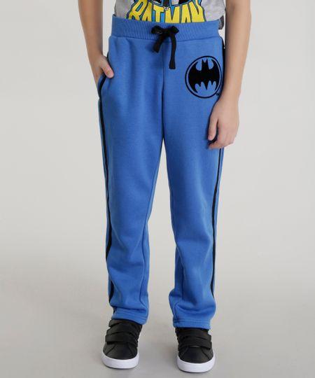 Calça em Moletom Batman de Algodão + Sustentável Azul