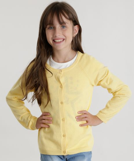 Cardigan-em-Trico-de-Algodao---Sustentavel-Amarelo-8456653-Amarelo_1