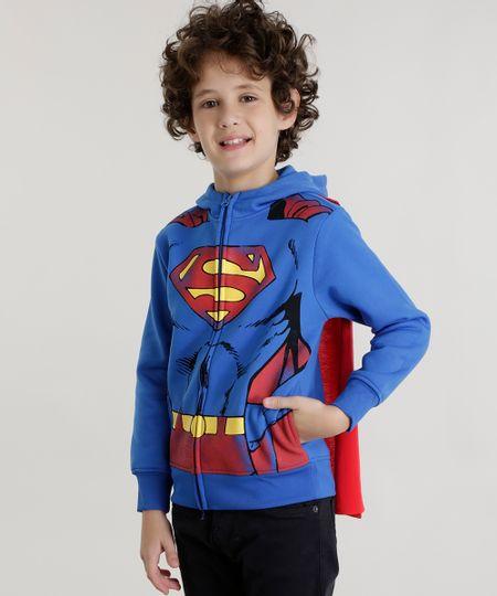 Blusão Super Homem em Moletom Azul