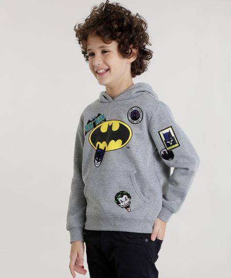 Blusão Batman em Moletom com Patchs em Algodão + Sustentável Cinza Mescla