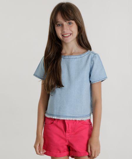 Blusa Jeans Azul Claro