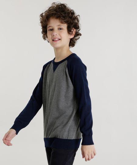 Suéter em Tricô de Algodão + Sustentável Cinza Mescla