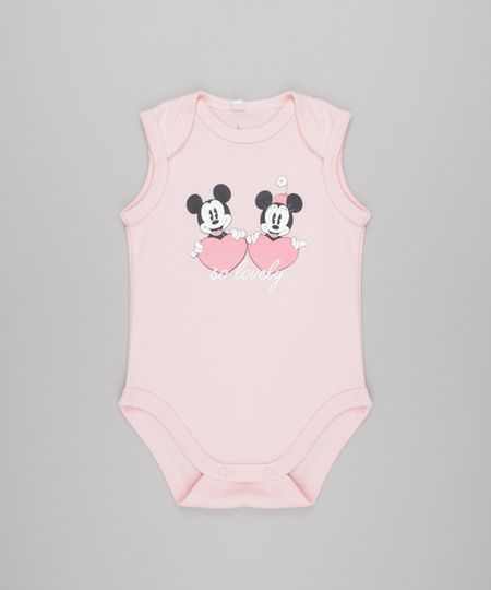 Body Minnie & Mickey em Algodão + Sustentável Rosa Claro