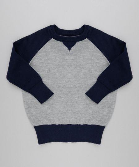 Suéter em Tricô de Algodão + Sustentável Cinza Mescla Claro