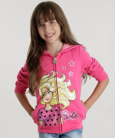 Blusão Barbie em Moletom Rosa
