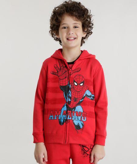 Blusão Homem Aranha em Moletom de Algodão + Sustentável Vermelho