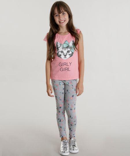 Conjunto de Blusa Rosa + Calça Legging Estampada Cinza Mescla